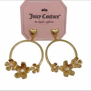 Juicy Couture Flower Crystal Gold Tone Earrings